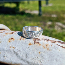 Load image into Gallery viewer, Sterling Silver Engraved Western Band Ring Design RNG00048 by Loreena Rose