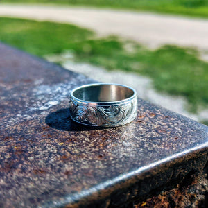 Sterling Silver Engraved Western Band Ring Design RNG00048 by Loreena Rose