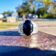 Load image into Gallery viewer, Sterling Silver Engraved Ring with Oval Black Onyx Stone Design RNG00049 by Loreena Rose