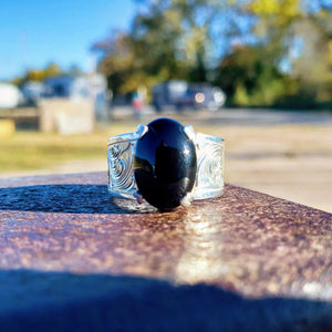 Sterling Silver Engraved Ring with Oval Black Onyx Stone Design RNG00049 by Loreena Rose