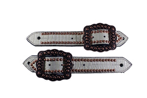 Picture of C&L Belt Style White Gator Print Spur Straps SS000009