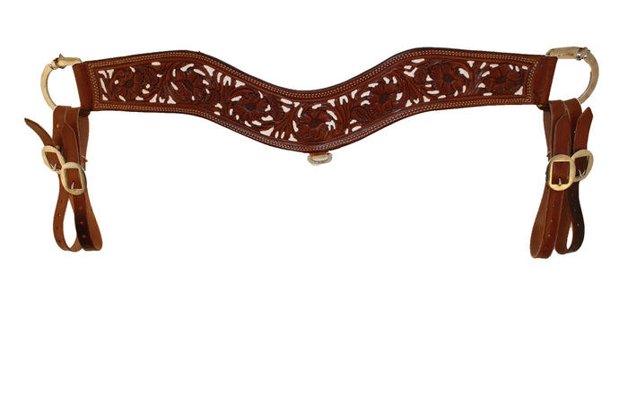 Picture of C&L Chocolate Floral Tooled Tripping Collar w/white inlay TC000001
