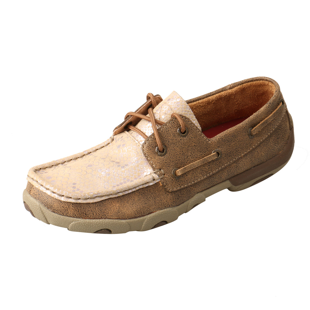 Picture of front outside of Women's Twisted X Boat Shoe Driving Moc WDM0118