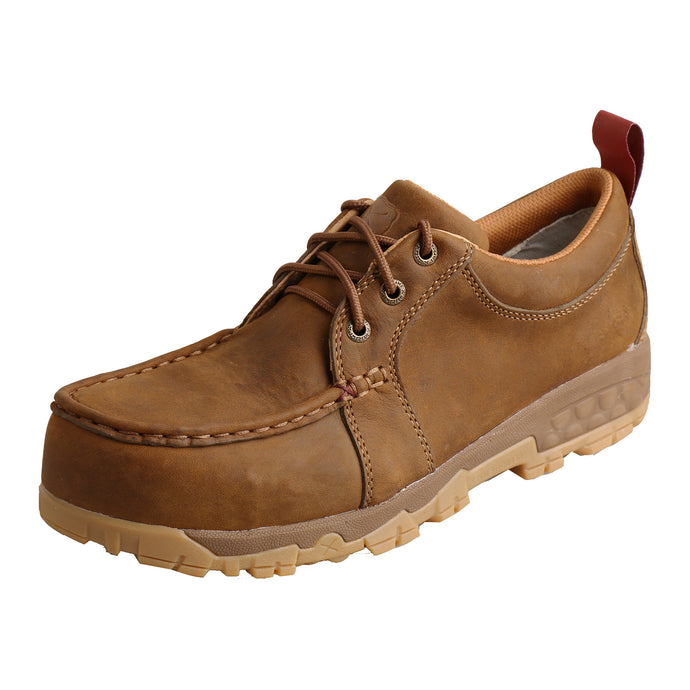 Picture of front outside of Women's Twisted X CellStretch Lace Up Safety Toe Work Boat Shoe Driving Moc WXCC002