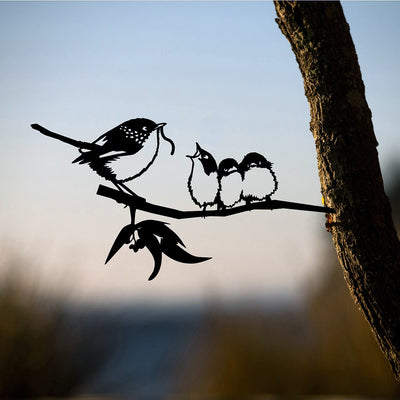 Metalbird - Birds in Trees - Blue Wren and Babies - Regular