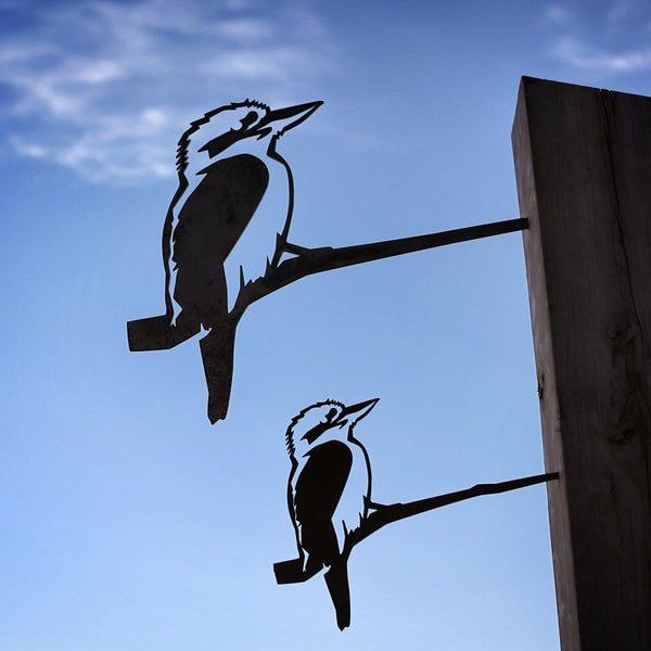 Small and Large Kookaburra Metalbird Pair