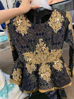 SONGKET PEPLUM NAVY BLUE LACE GOLD