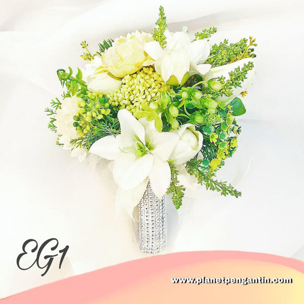 Wedding Flower Bouquet (Bunga Tangan Pengantin) - Earth Green 1
