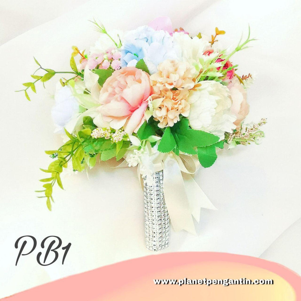 Wedding Flower Bouquet (Bunga Tangan Pengantin) - Pastel Blue