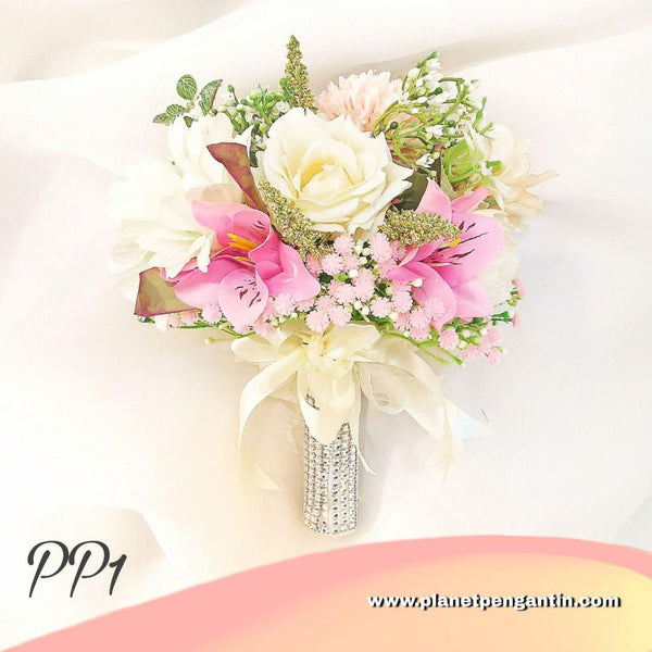 Wedding Flower Bouquet (Bunga Tangan Pengantin) - Pastel Pink