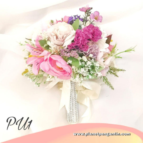 Wedding Flower Bouquet (Bunga Tangan Pengantin) - Purple White 1