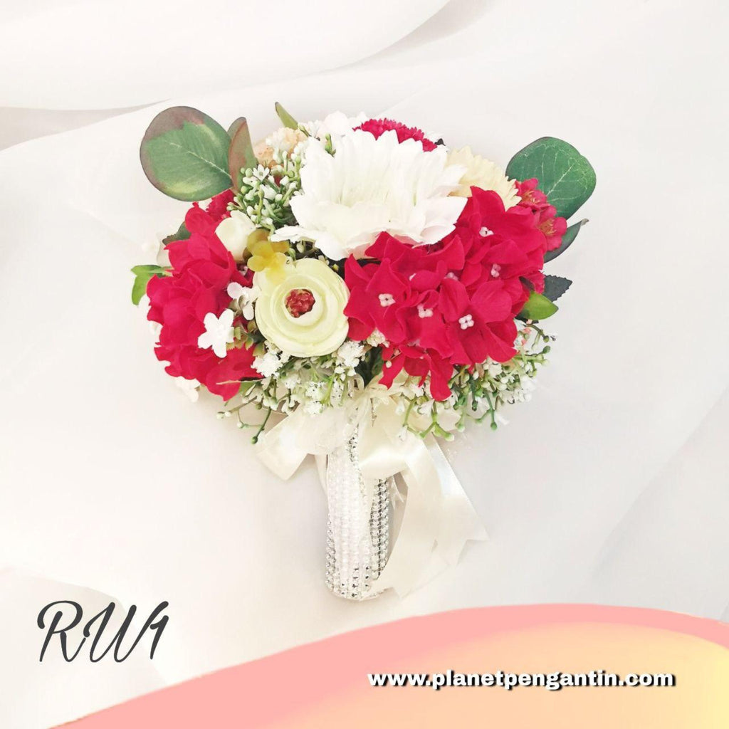 Wedding Flower Bouquet (Bunga Tangan Pengantin) - Red White