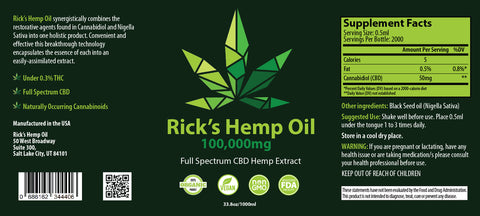 Rick's 100,000 mg Full Spectrum 1000 ml CBD Oil
