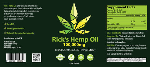 Rick's 100,000mg Broad Spectrum 1000ml CBD Oil