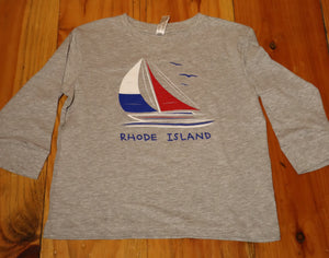Rhode Island Youth Long Sleeve Sailboat Shirt