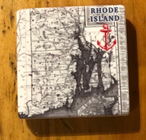 RI Map Marble Magnet