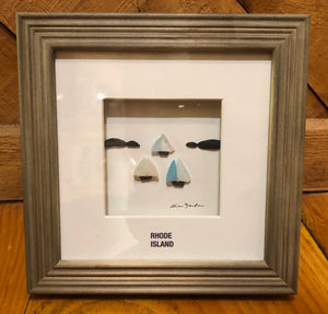 Rhode Island Framed Seaglass Artwork