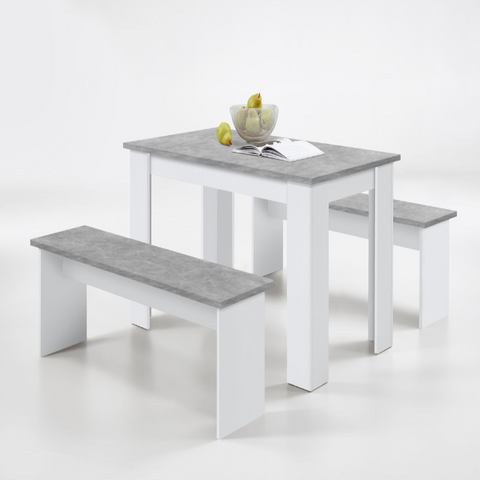 White & Stone Kitchen Bench Set