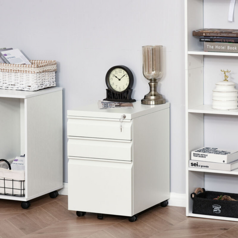 White Mobile Metal Cabinet