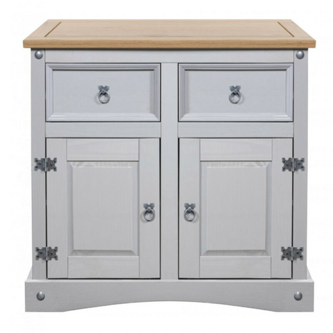 Light Grey 2 Drawers Pine Sideboard Buffet