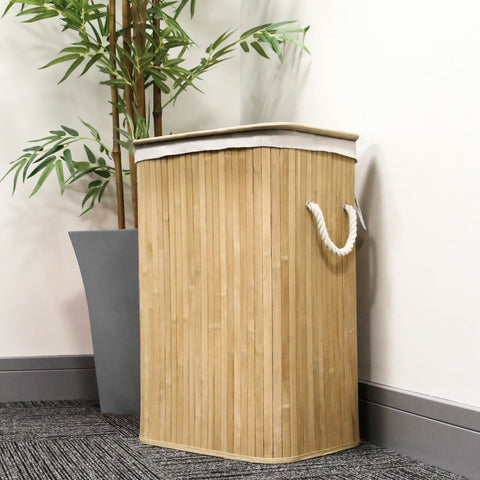 72L Collapsible Bamboo Laundry Basket