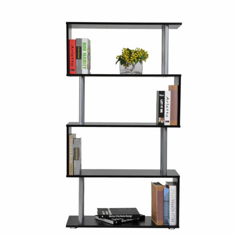 S Shape Wooden Bookcase Storage Display Unit