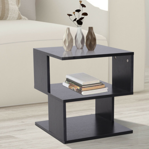 2 Tier Square Wooden Coffee Side Table With Storage Shelf Rack