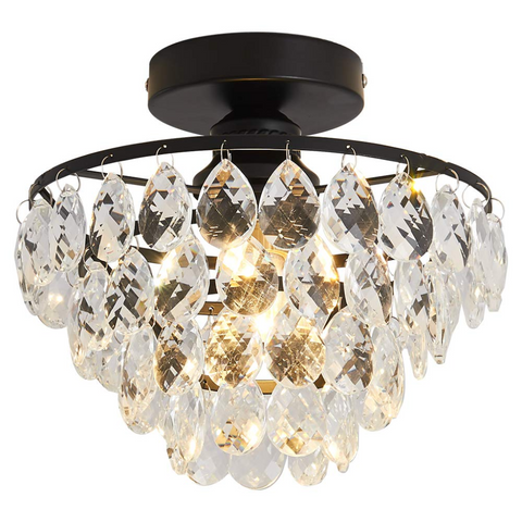 Modern Crystal Semi Flush Fitting Chandelier