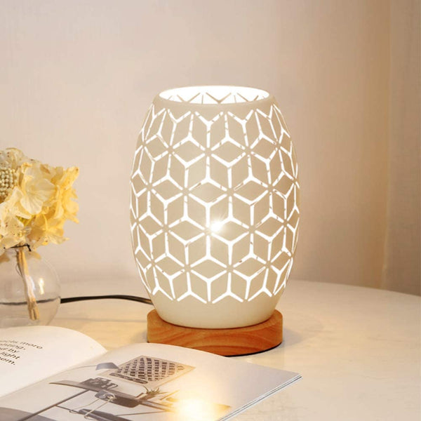 Decorative Wooden Base Bedside Table Lamp