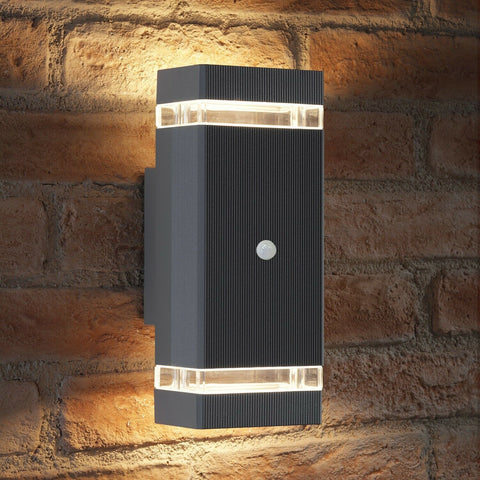 Black Outdoor Wall Motion Light
