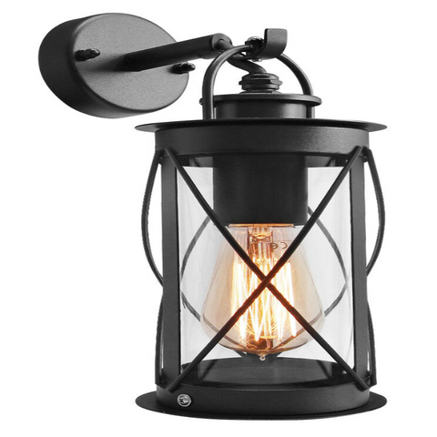 Black Metal Outdoor Wall Lantern Light with Glass