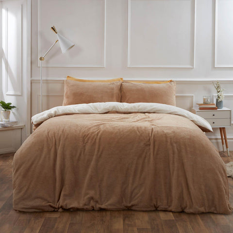 Reversible Latte mink Teddy Fleece Duvet Cover with Pillowcase