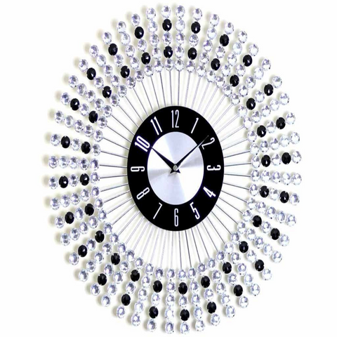 STYLISH 43CM BLACK BEADED WALL CLOCK