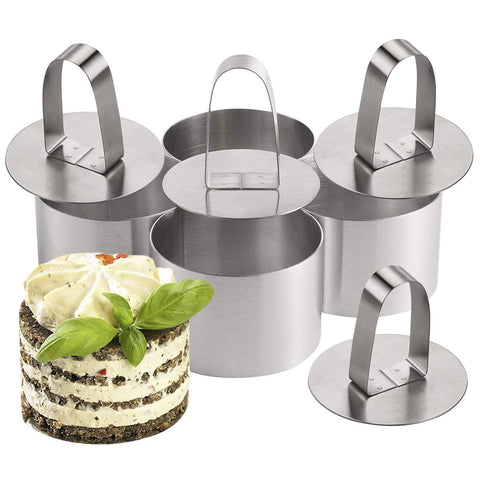 4 Pieces Cooking Rings Set with Pusher