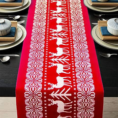 Christmas Table Runners Printed Linen Table Lines