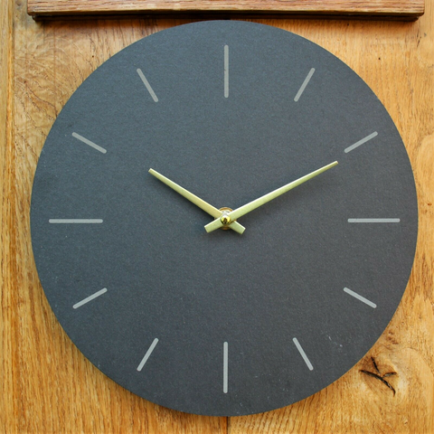 Natural Slate Grey Garden Wall Clock