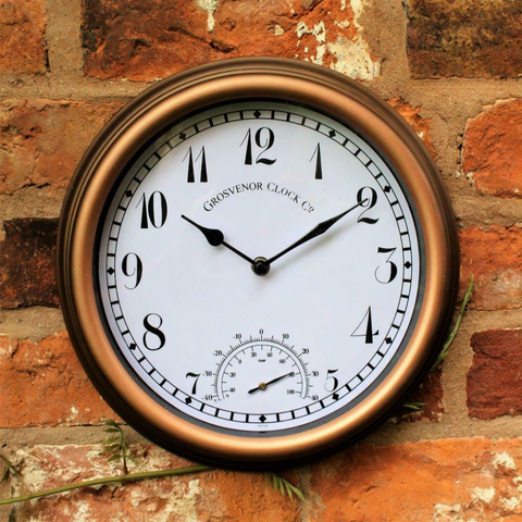 Outdoor Copper Garden Station Wall Clock