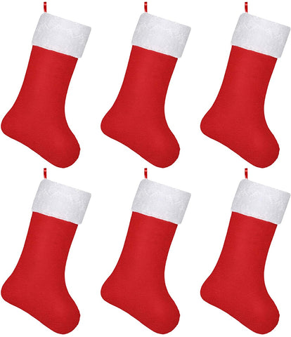 Christmas Stockings,(6 Packs) 16 Inch Red Stocking Kids Gift