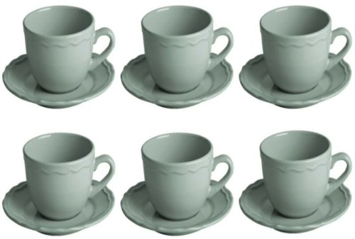 Set Of 6 Grey Ceramic Mug and Saucer