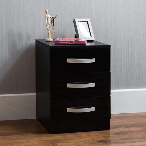 3 Drawers High Gloss Bedside Cabinet