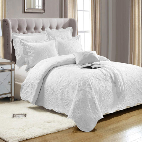 Bedding 3 Piece Embroidered Quilted Bedspread