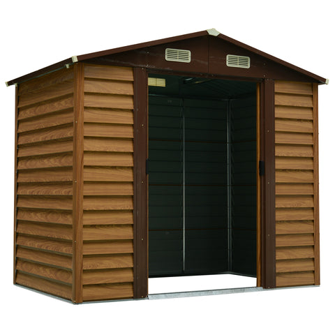 Sliding Door Brown Wooden Garden Shed