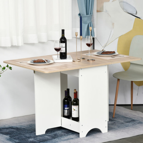 Drop-Leaf Folding Dining Table with Storage Shelf
