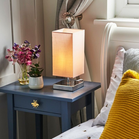 Square Fabric Table Lamp with LED Bulb