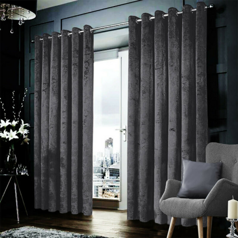 Grey Crushed Velvet Curtains With Eyelet Ring