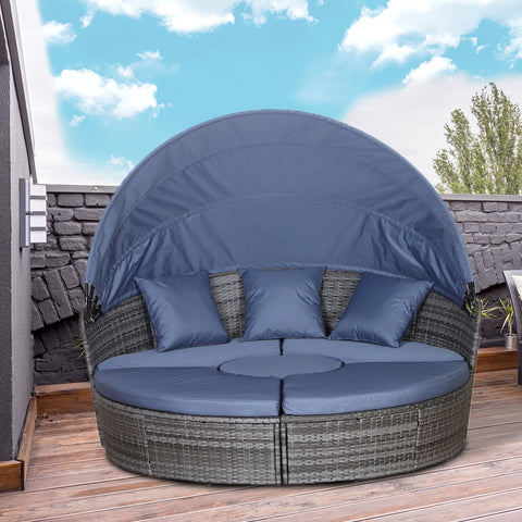 6-Seater Round Outdoor Rattan Sun Bed