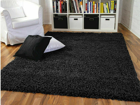 Thick Non Slip Bedroom/Living Room Rug (Black)