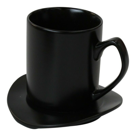 Set Of 4 Large Black Coffee Mugs With Plates