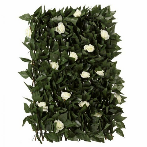White Rose & Leaf Expandable Artificial Trellis