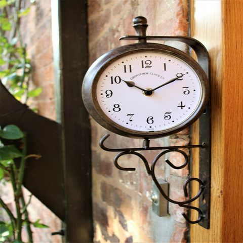 Double Sided Garden Wall Clock/Thermometer
